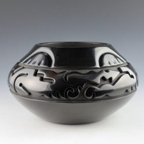Youngblood, Nathan – Bowl with Carved Avanyu and Impressed Rainbows