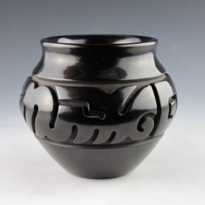 Youngblood, Nathan –  Black Jar with Walking Bear Paw Design