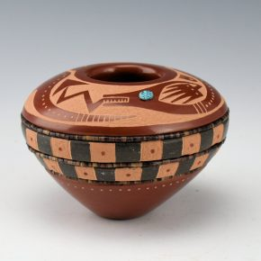 Sanchez, Russell  – Red & Black Seed Bowl with Avanyu
