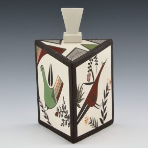 Natseway, Charmae – Lidded Triangular Box with Bird Designs