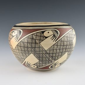 "Naha, Helen ""Featherwoman"" – Bowl with Bird Migration Design (1970's)"