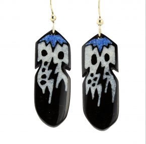 Pourier, Kevin – Buffalo Horn Feather Earrings with Lapis/Mother of Pearl Inlay