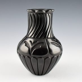 Tafoya-Sanchez, Linda – Jar with Butterflies and Carved Swirl Neck