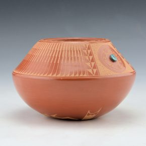 Gonzales, Marie – Bowl with Incised Feather Pattern and Turquoise (1990s)