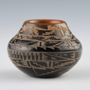 Naranjo-Romero, Monica – Black and Sienna Jar with Water Serpent