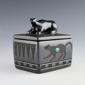 Sanchez, Russell  – Gunmetal Mountain Lion Lidded Box
