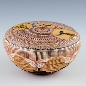 Nez, Wallace – Sgraffito Seedpot with Butterflies and Deer (2006)