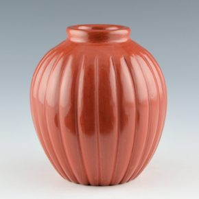 Baca, Alvin – Red Melon Jar with 24 Ribs