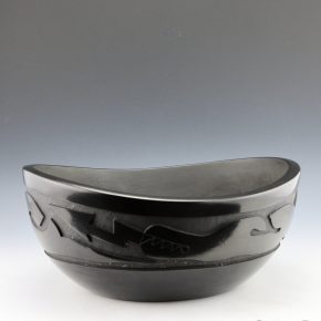 Whitegeese, Daryl  – Large Oval Bowl with Carved Avanyu