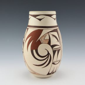 "Navasie, Joy ""Frogwoman"" -Tall Jar with Bird Designs (1980's)"