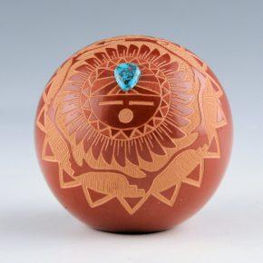 Chavarria, Harvey & Debra Trujillo – Sun Face Seedpot with Turquoise (1980's)