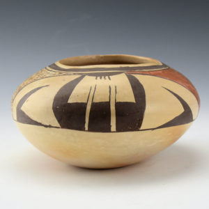 Native American Acoma Pueblo Pottery Miniature Bowl deer design 2 516 inches X 12 inch Artist Signed